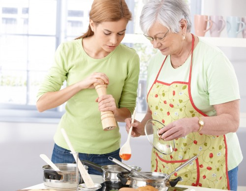 Mum and Grandma cooking